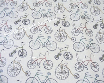 Retro Bicycles and tricycles fabric~Around Town~By the yard~Red Rooster~Terri Degenkolb~Gray