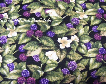 Berries Blooms & Leaves  fabric~by the 1/2 yard~David Textiles~Susan Wheeler~Cotton~Fruit