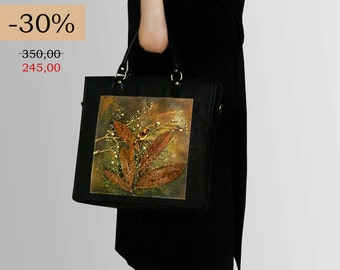 SALE - 30% hand-painted Office - real leather bag