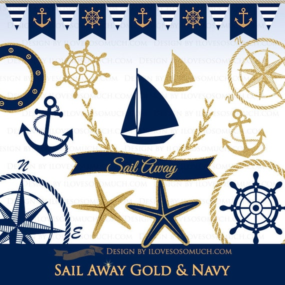 Sail Away Gold & Navy / Nautical Digital Clip Art - Instant Download - CA097
