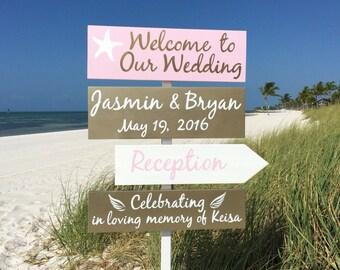 Rose Gold Wedding Decor, Beach Welcome Wedding Sign, Starfish Gold Reception Decorations,