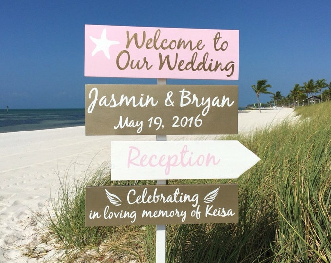 Rose Gold Wedding Decor, Beach Welcome Wedding Sign, Starfish Gold Reception Decorations,