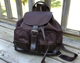 90s Small Brown Backpack Leather Accents