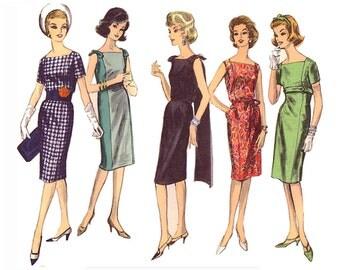 Vintage 60s Vogue 5541 Sewing Pattern Misses Classic 1 Piece Sheath Dress sz 14 Square Neck Back Panel Short Sleeve Sleeveless Bust 34