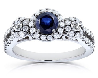 Blue Sapphire and Diamond Halo Engagement Ring 1 CTW in14k White Gold