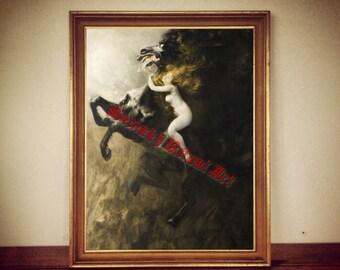 """212# Władysław Podkowiński """"Frenzy"""" print,  naked, redheaded woman riding black, frenetic horse, """"Szał uniesień"""" poster, vintage home decor"""