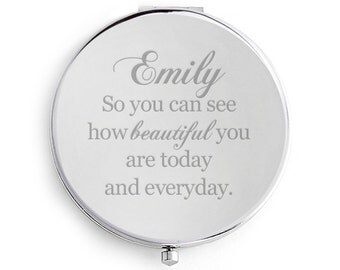 Compact Mirror, Bridesmaids' Gifts, Engraved, Personalized, Silver, Custom Name compact, wedding, keepsake