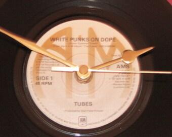 "The Tubes white punks on dope 7"" yellow vinyl record clock"