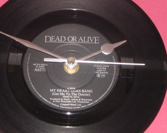 """Dead or Alive my heart goes bang   7"""" vinyl record clock"""