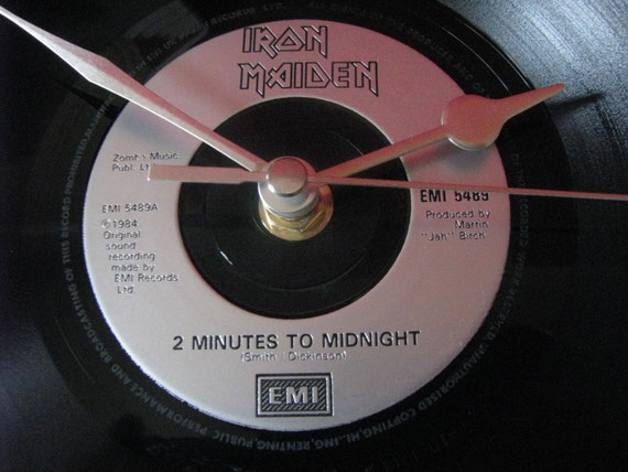 Iron Maiden 2 Minutes To Midnight 7 Vinyl Record Clock