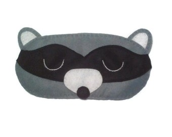 Racoon eye mask, Racoon sleep mask, animal sleep mask, felt eye mask, sleeping aid, Woodland sleep mask, Forest animal