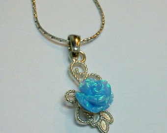 Opal Rose Silver Flower Pure Beauty Necklace