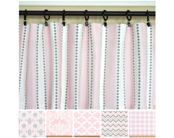 Pink Grey Curtains.Light Pink Window Curtains.Kitchen Curtains.Gray Curtain  Panels.