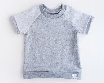 Heather Gray Raglan Short Sleeve Baby and Toddler Shirt