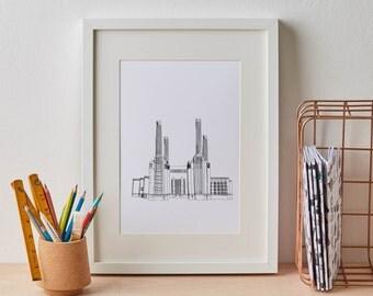 London Battersea Print, london print, gift for him, architecture, london wall art, home decor, london art, london skyline, london art,