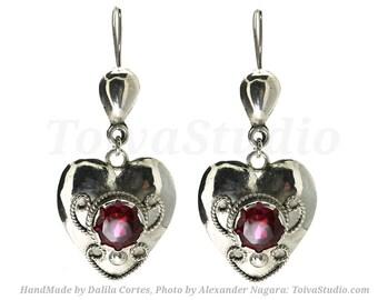 Heart silver Earrings-heart Ruby Earrings-heart dangle earrings