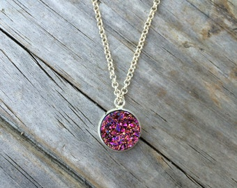 Pink Druzy Necklace, Charm Necklace