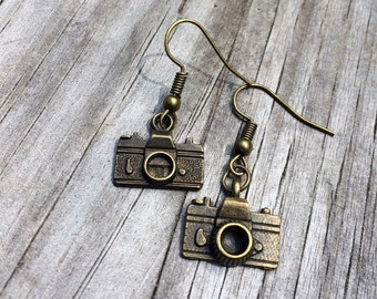 Camera Earrings, Bronze Earrings, Charm Earrings