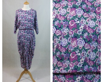 80s vintage dress. Floral print dress. Joni Blair dress. Japanese sleeves dress. Pleated dress. Size S - M.