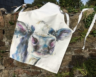 Adult Watercolour Cow Print 100% Cotton Apron , contemporary designer apron made in uk
