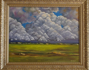 Cloudy Sky Painting, Original Oil Painting, Sky Painting, Landscape Painting