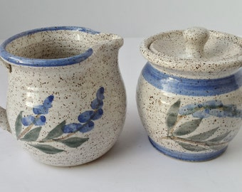 Granite Lake Stoneware Creamer and Lidded Sugar Bowl with Blue Flower and Trim