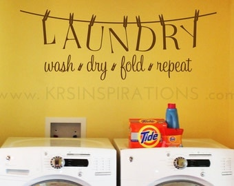 LAUNDRY Room Clothesline Wall Decal
