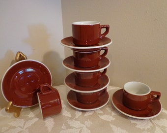 Chocolate Brown Italian Espresso Cup and Saucers Set for 6, Brown Demitasse Service for 6, from Italy, 6 Brown Italian Tea Set