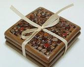 Coffee Coasters set of 3 /coffee bean multi color coaster/tile coaster set