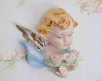 Vintage Porcelain Cherub Wall Hanging/ Angel/ Roses/ Blue and Pink