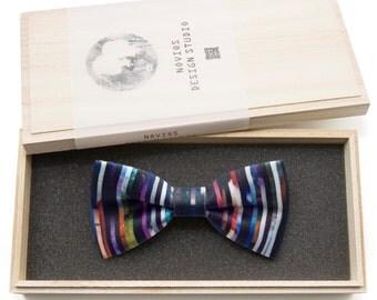 Vertical Stripe Dream Bowtie - birthday gift, Toddler Bowtie Toddler Bow tie, Groomsmen bow tie, Pre Tied and AdjustableNovioshk, H0221