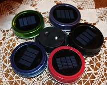 Mason Jar Solar Lid Light - Great for Projects and Crafts - Color Metal Ring
