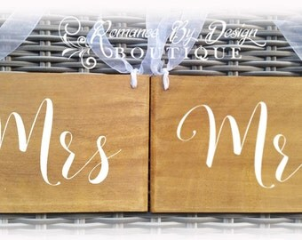 Mr and Mrs Chair Signs Rustic Wooden Wedding