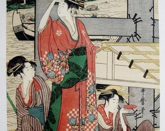 Japanese Woodblock Utamaro Ryogoku Bridge, Three Women