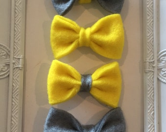 NEW! Felt Bow Hair Clip Grey and Yellow