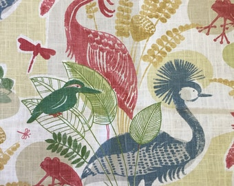 Linen Mangrove Cuckoo Bird -  Coastal Fabric By The Yard - Upholstery Fabric by the Yard