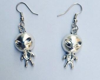 NEW Alien Earrings Silver