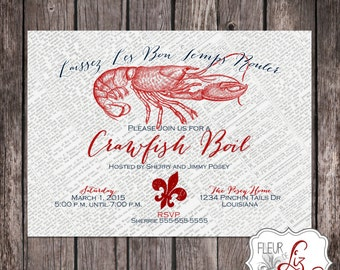 Digital file OR Printed Crawfish Boil Invitation