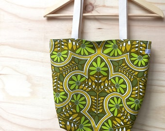 Tote - Market Bag - Beach Bag - Shopping Bag - Recycled Textiles - Green - Vintage - Reversible