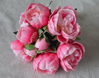 Hot Pink Real Touch Peonies Bunch DIY Silk Bridal Bouquets Wedding Bouquets Real Touch Flowers
