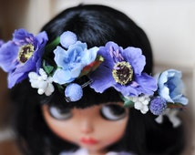 Blythe  flower light blue and violet crown   - Blythe accessories from BlablaBlythe