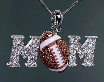 Football Mom metal snake chain necklace