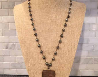 Pyrite rosary chain necklace with soldered pendant
