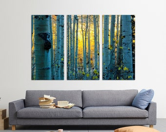 3 Panel  Canvas Split, giclee print, Spreading tree branches, Autumn Forest, Print on Canvas, Interior design, Room Decoration, Photo gift