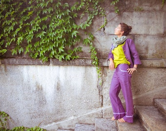 SALE -50%! purple Coconut – trousers made out of handloom linen - fair trade produced