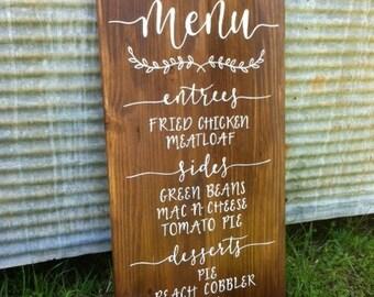 Dinner Menu // Wood Wedding Reception Decor