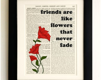 ART PRINT on old antique book page - Friends are like flowers Quote, Vintage Wall Art Print, Encyclopaedia Dictionary Page