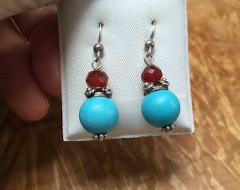 Sterling silver wire and beaded earrings