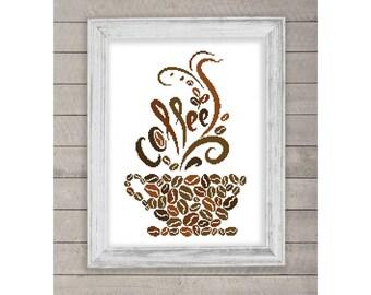 Coffee Cup Silhouette, Coffee Cup Silhouette Pattern, Cross Stitch Pattern, Silhouettes, PDF - PATTERN ONLY