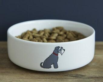 Small Schnauzer ceramic dog food / water bowl for miniature Schnauzers